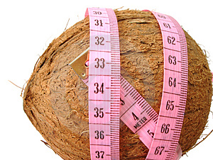 Coconut With Pink Tape Measure Over White Background (concept Of Royalty Free Stock Photography - Image: 2052257