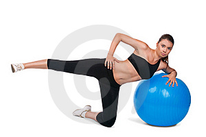 Strong Girl Excersicing With Fitball Royalty Free Stock Images - Image: 20500179