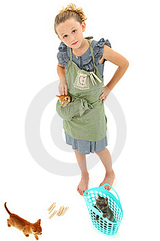 Girl Child In Apron With Kittens In Laundry Basket Royalty Free Stock Images - Image: 20502419