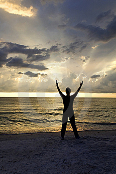Stretching At Sunset Stock Image - Image: 20503011