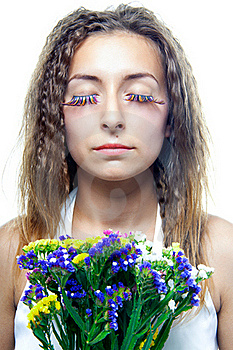 Beautiful  Woman Face With Flowers Stock Photos - Image: 20506313