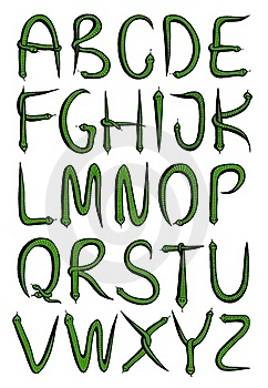 Alphabet From Green Snakes Royalty Free Stock Photography - Image: 20506377