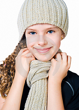 Little Girl In Cap And Scarf Stock Photography - Image: 20507752