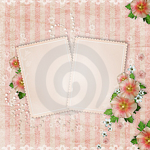 Vintage Card And Pink Mallow Royalty Free Stock Image - Image: 20507896