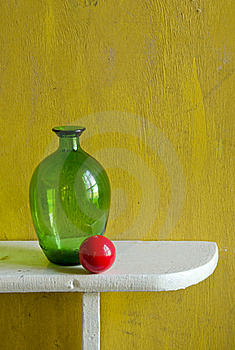 Still-life With Bottle And Red Ball Stock Photography - Image: 20509362
