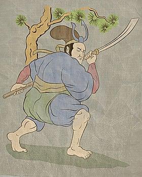 Samurai Warrior With Katana Sword Fighting Stance Royalty Free Stock Photos - Image: 20509988