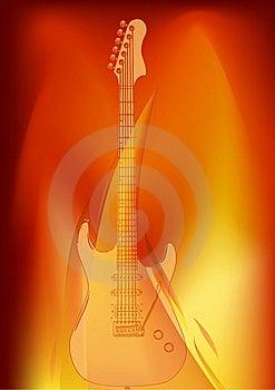 Guitar In Orange Flame Illustration Royalty Free Stock Photos - Image: 20510758