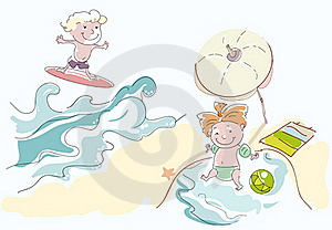 Little Lady Plays In Water Stock Image - Image: 20511191