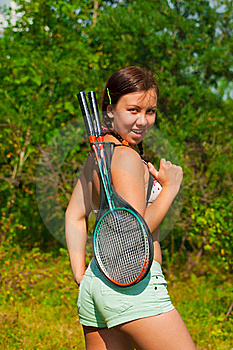 Girl With Racket Stock Photos - Image: 20511493