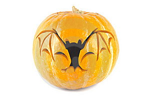 Halloween Pumpkin With Cut Out Bat Stock Images - Image: 20512474
