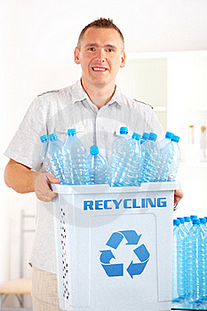 Recycling Man With Bin Royalty Free Stock Images - Image: 20513759