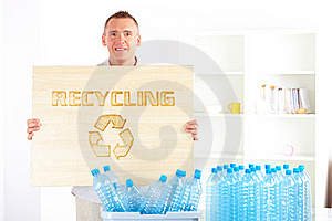 Recycling Man With Board Stock Photos - Image: 20513813