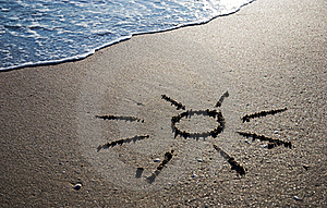 Sun Outline On The Wet Sand Stock Photography - Image: 20518852