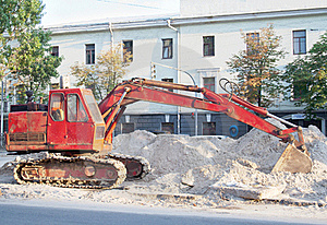 Red Excavator Stock Photography - Image: 20519472