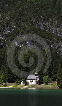Chapel At The Mountain Lake Stock Photo - Image: 20519640