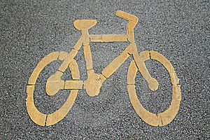 Bicycle Sign On Bicycle Lane Stock Photos - Image: 20520723