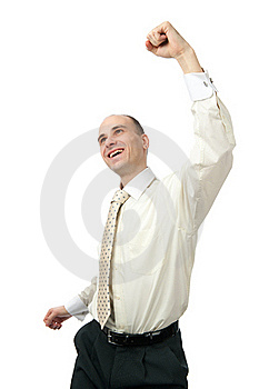 Excited Handsome Business Man With Arm Raised Royalty Free Stock Photography - Image: 20521857