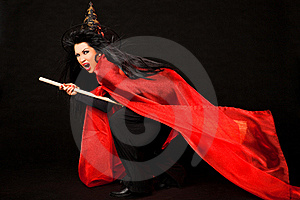 Flying Screaming Witch Broom Royalty Free Stock Photography - Image: 20522657