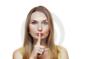 Young Woman Gesturing For Quiet Royalty Free Stock Images - Image: 20525449