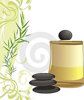 Spa Oil, Black Stones And Sprig Stock Photos - Image: 20525703