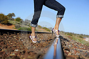 High Heels On Track Royalty Free Stock Image - Image: 20530986