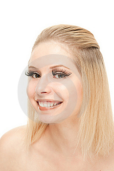Smiling Blond With Lengthen Eyelashes Stock Image - Image: 20541751