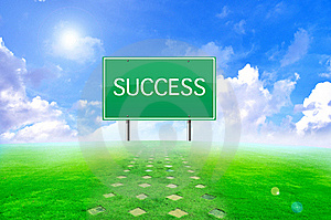 Traffic Success Sign And Green Background Royalty Free Stock Photos - Image: 20544718