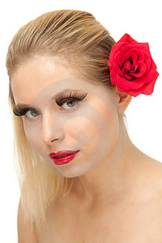 Blond Woman With Rose Royalty Free Stock Images - Image: 20544869