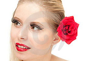 Blong Woman With Rose Isolated Stock Image - Image: 20544901