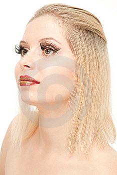 Portrait Of Glamour Blond With Red Lips Royalty Free Stock Photos - Image: 20545118