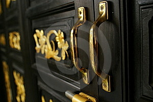 Golden Door Holders At Chino Portugese House Royalty Free Stock Photo - Image: 20551865