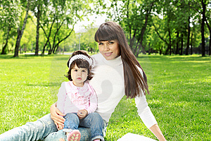 Mother With Her Daughter Outside Royalty Free Stock Images - Image: 20553219