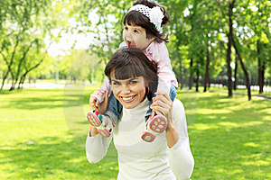 Mother With Her Daughter Outside Royalty Free Stock Photo - Image: 20553305