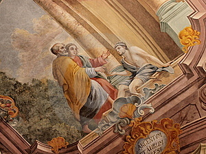Frescos In Lublin's Cathedral, Lublin, Poland Stock Photo - Image: 20553750
