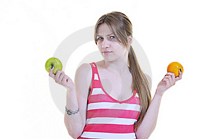 Happy  Young  Woman Eat Apple Isolated  On White Royalty Free Stock Photography - Image: 20554447