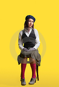 Girl As Artist Retro Style Cloth Sit On Yellow Royalty Free Stock Image - Image: 20555736