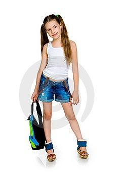 Cute Schoolchild With Knapsack Stock Image - Image: 20557771