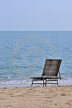 Lonely Chair At Sea Beach Royalty Free Stock Photo - Image: 20557965