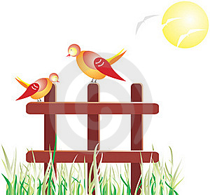 Birds On The Fence Stock Images - Image: 20563824