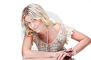 Coquettish Blonde Woman Wearing White Knitted Lacy Stock Photos - Image: 20568043