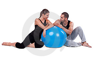 Couple Relaxing On Fitball Stock Photos - Image: 20568713
