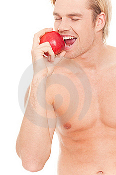 Happy Man Eating An Apple Royalty Free Stock Photos - Image: 20568868