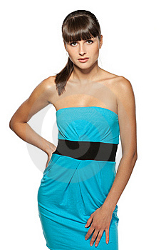 Female Model Posing In Turquoise Dress Stock Photography - Image: 20570012