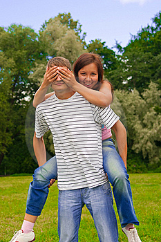Girl Closing Her Boyfriend Eyes By Hands Royalty Free Stock Photography - Image: 20572247