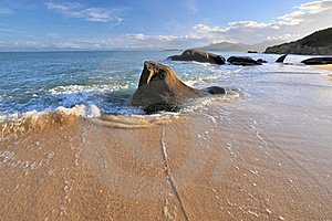Sea Coast Rock In Sunset Lighting Royalty Free Stock Images - Image: 20572969