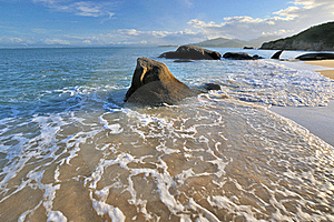 Sea Water Foam And Rock In Sunset Lighting Stock Image - Image: 20572971
