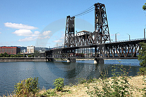 The Steel Bridge A Busy Thoroughfare, Portland OR. Royalty Free Stock Photo - Image: 20574825