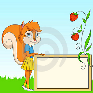 Cartoon Furry Squirrel With Board On Grass Royalty Free Stock Photography - Image: 20578377