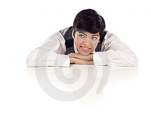 Mixed Race Female At Table Looking Up And Away Royalty Free Stock Image - Image: 20586346
