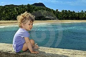 Little Girl On The Peer Having Fun Stock Image - Image: 20588341
